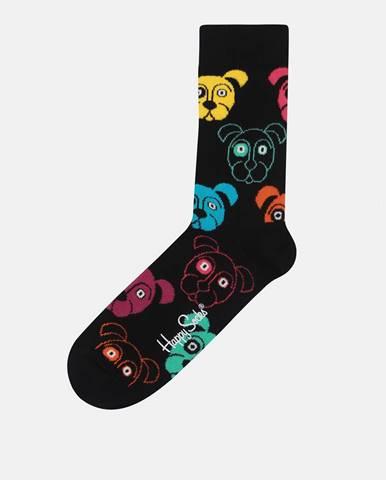 Čierne unisex vzorované ponožky Happy Socks