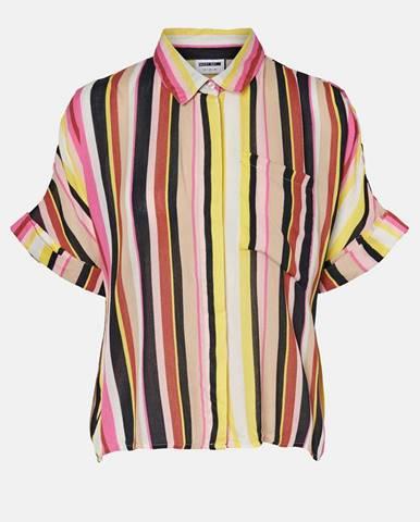 Žlto-ružová pruhovaná voľná košeľa Noisy May Flora