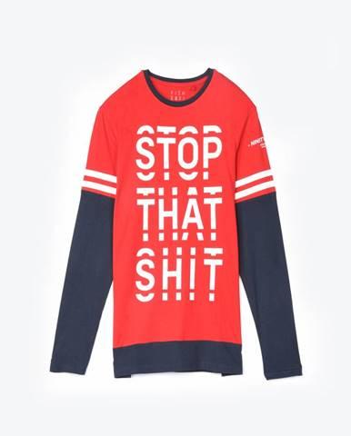 Tričko s dlhým rukávom s nápisom