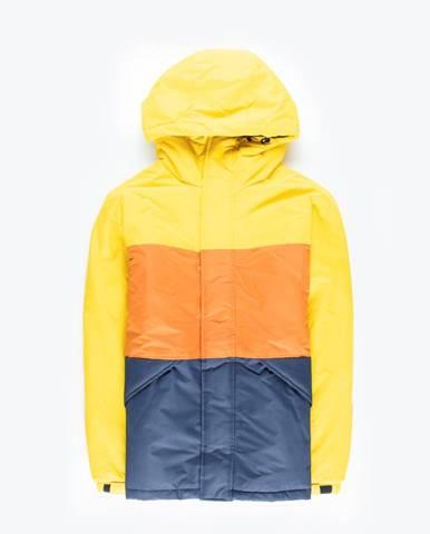 Vatovaná viacfarebná bunda s kapucňou