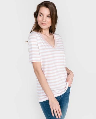 SELECTED Standard Tričko Biela Béžová