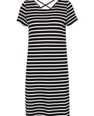 Krémovo-čierne pruhované šaty ONLY Bera