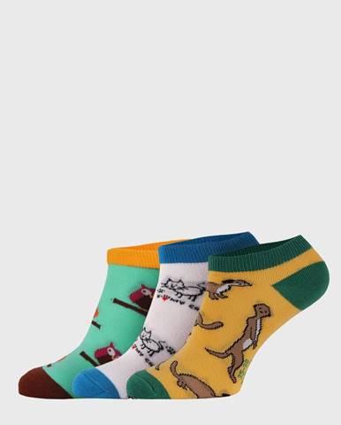 3 PACK nízkych ponožiek  Crazy Animals