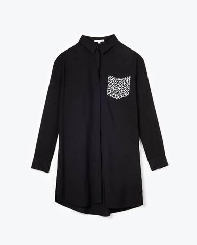 Dlhá viskózová košeľa so zvieracou potlačou na náprsnom vrecku