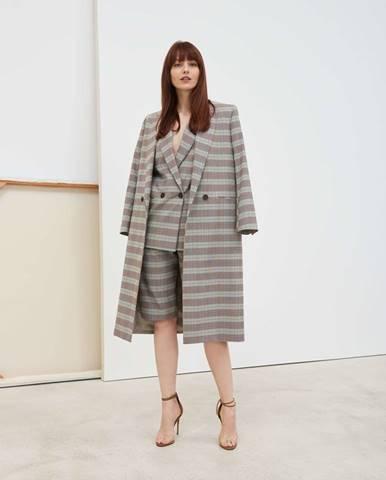 Dámsky karovaný kabát uvoľnenej siluety  sivá