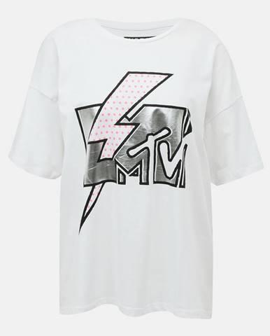 Biele voľné tričko s potlačou Noisy May Isa MTV