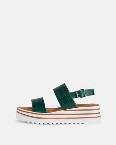 Zelené kožené sandále na platforme Tamaris