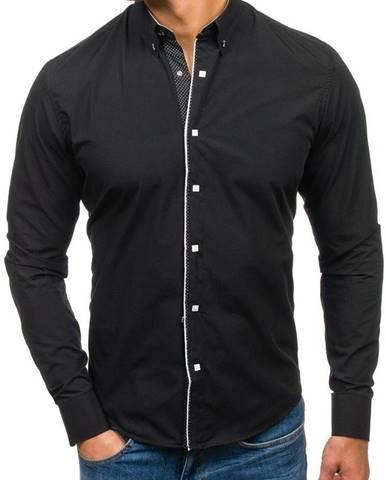 Čierna pánska elegantá košeľa s dlhými rukávmi