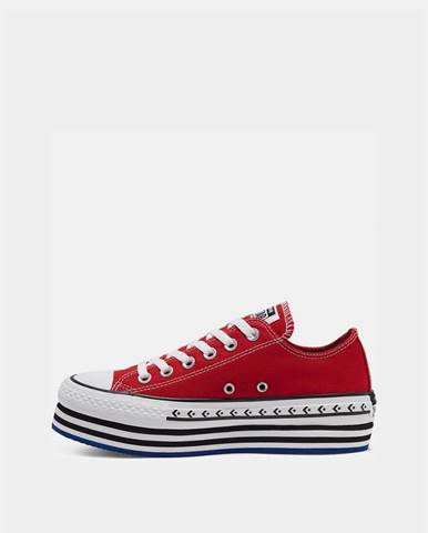 Červené dámske tenisky na platforme Converse Chuck Taylor All Star