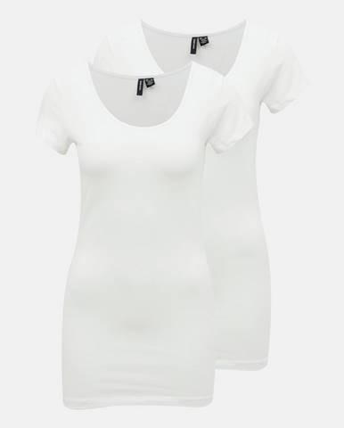 Sada dvoch bielych basic tričiek VERO MODA Maxi