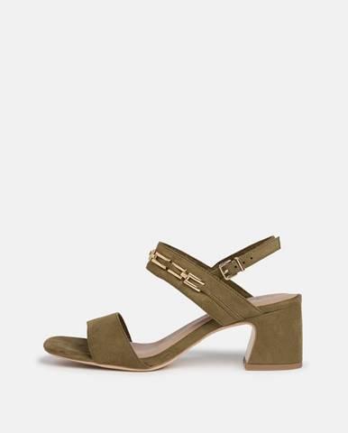 Kaki sandálky v semišovej úprave Tamaris