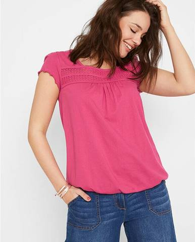 Tričko z bavlny, s čipkou a krátkym rukávom