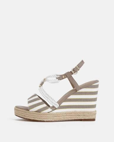 Bielo-hnedé sandálky na plnom podpätku Tamaris