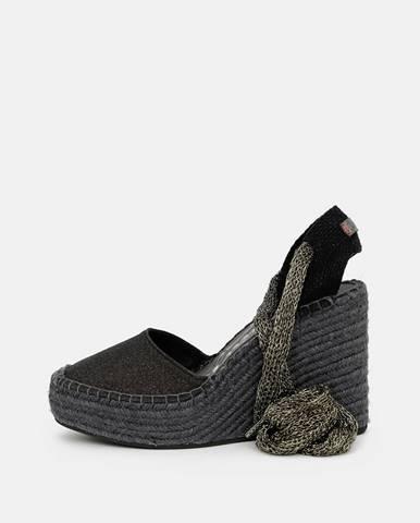Tmavošedé dámske sandálky na plnom podpätku Replay