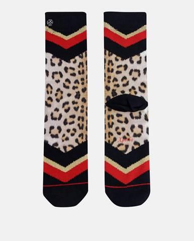 Čierno-béžové dámske ponožky s leopardím vzorom XPOOOS